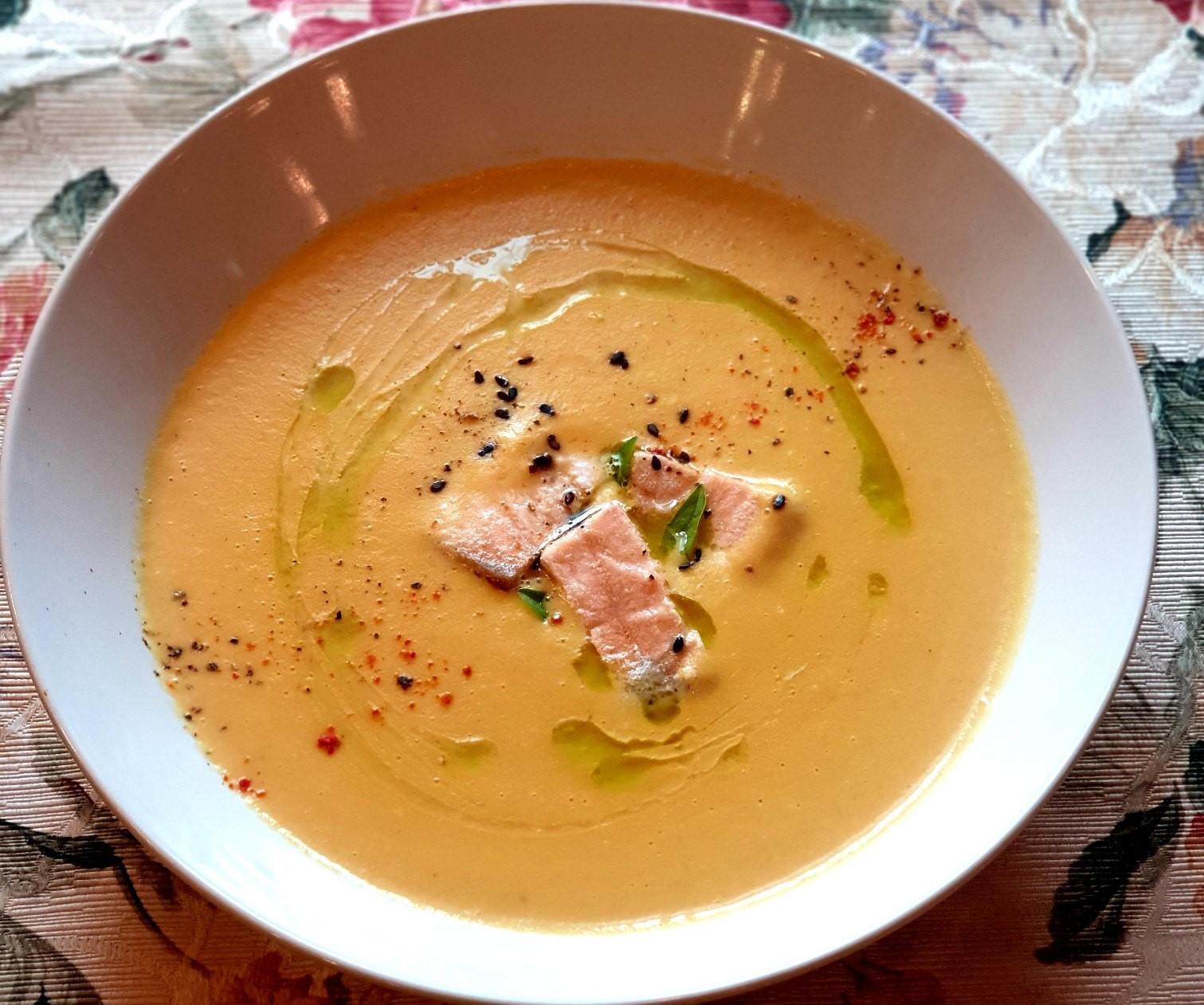 Суп-пюре овощной с сёмгой